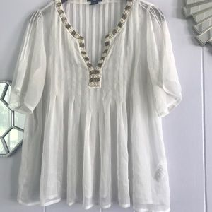 H&M White Flowly Sheer Peasant Blouse